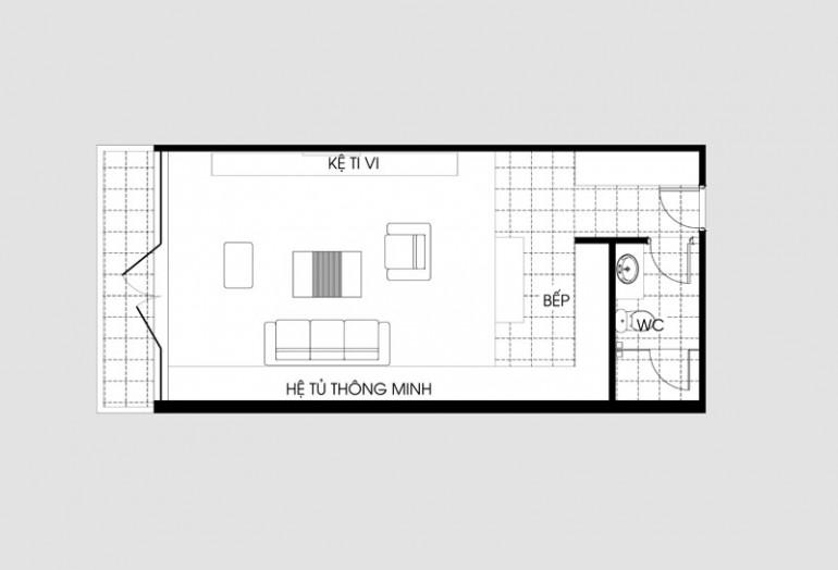 Mặt bằng căn hộ dưới 35m2
