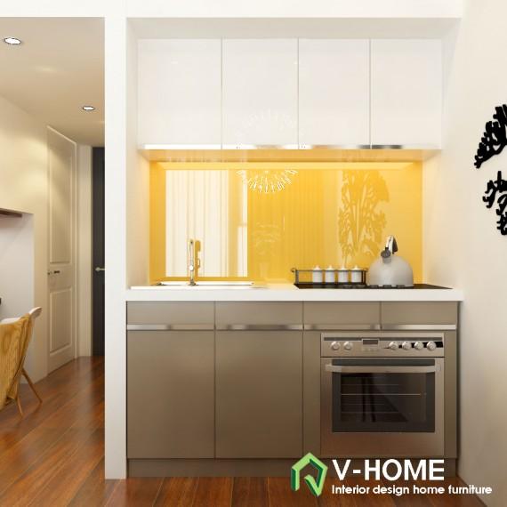 Tủ bếp làm bằng acrylic nhỏ gọn nhưng vẫn đầy đủ tiện ích
