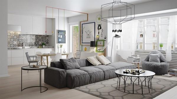 Phòng khách mang Phong cách Bắc Âu Scandinavian tối giản và nhẹ nhàng