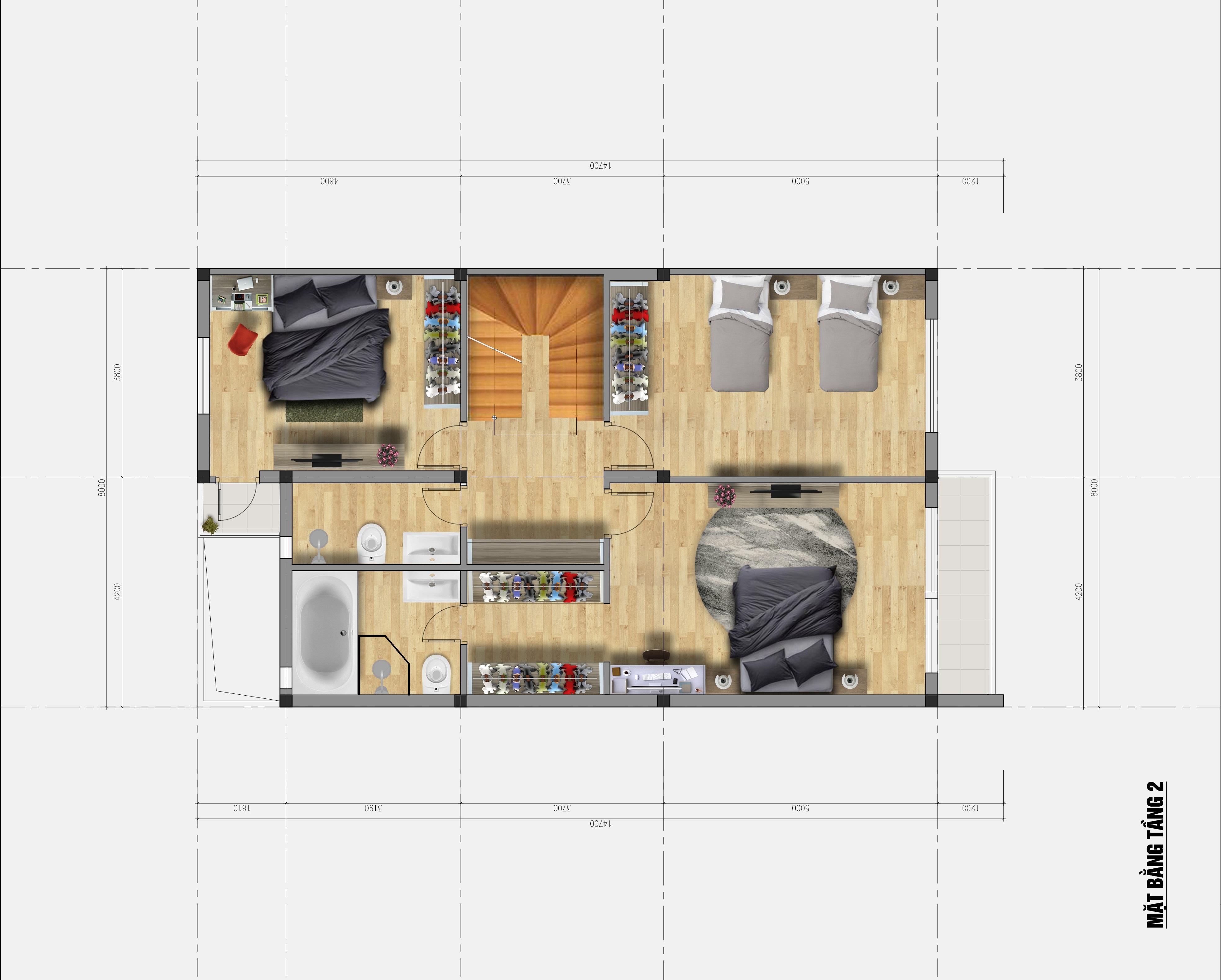 thiết kế kiến trúc nhà phố hải dương – anh hoài Thiết kế kiến trúc nhà phố Hải Dương – anh Hoài Tang 2