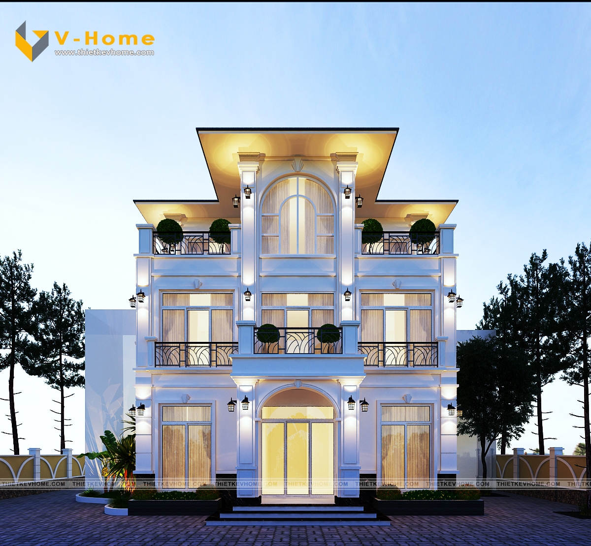 thiết kế kiến trúc ngoại thất biệt thự bạch Đằng, hai bà trưng Thiết kế kiến trúc ngoại thất biệt thự Bạch Đằng, Hai Bà Trưng thiet ke kien truc biet thu tan co dien 5