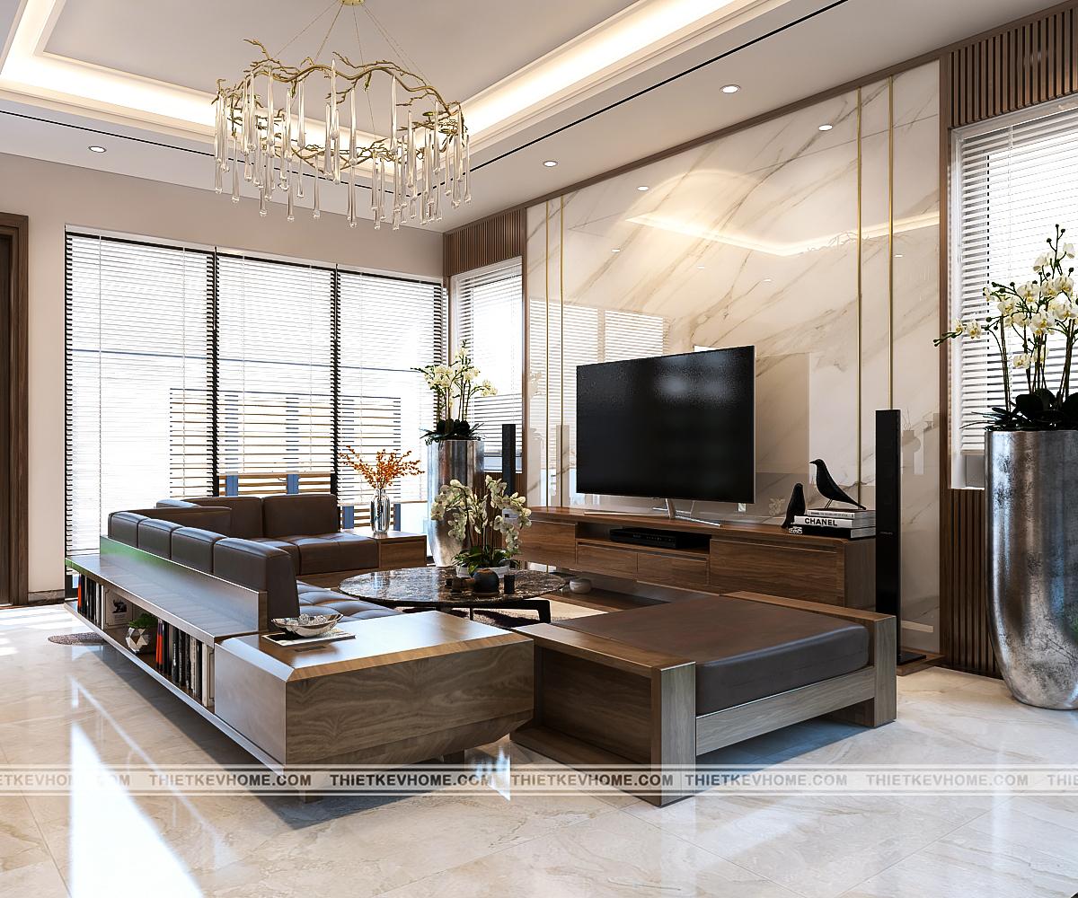 Thiết kế nội thất biệt thự hiện đại Đông Anh – chị Hằng pa1 khach bep 3